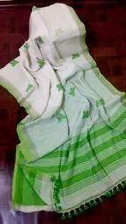 Casual Wear Printed Ladies Linen Jamdani Saree, 6.3 m (with blouse piece)
