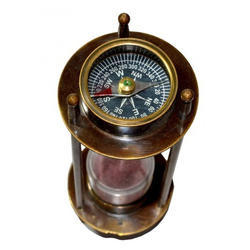 Brass Brown Antique Sand Timer With Compass