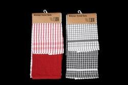 Red & Grey Kitchen Towels