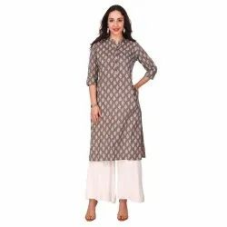 Gray Color Cotton Straight Kurta for Women