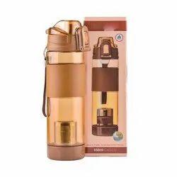 Plastic Round Brown Alkaline Bottle, For Drinking Water, Capacity: 650 Ml