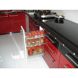 Red And Black Ss Modular Kitchen Wardrobe