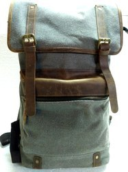 Canvas Leather Hiking Backpack Bag