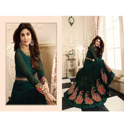 Dark Green And Cream Party Wear Long Anarkali Suit