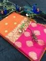 Exclusive Kora Muslin Weaving Sarees With Pretty Zari Weaves And Designer Blouse