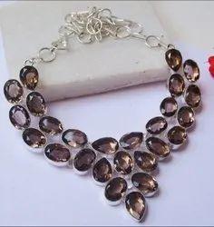 Smoky Quartz Gemstone Cluster Necklace