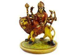 Handmade Handpainted Godess Durga Resin Figurine Sculpture