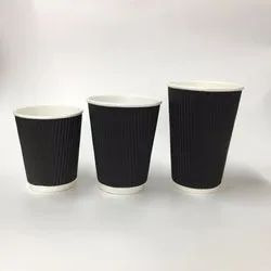 Black Ripple Hot Drink Paper Cup, Capacity: 8oz, Packet Size: 100 Pieces