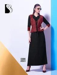 Printed Ankle Length Rayon _Ladies _Bahubali Brand_kurta with jacket pattern