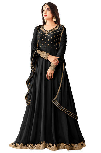 8d50388c72 Georgette Party Wear Jacket Style Anarkali Suit With Zari Embroidery ...