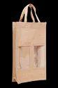 Natural Plain Jute Two Bottle Bag