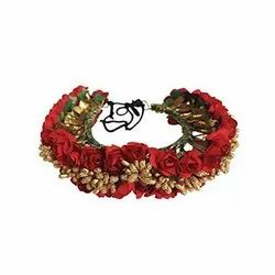 Red Rose Artificial Flower Hair Bun