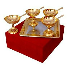 Silver & Gold Plated Brass Ice Cream Bowl Set 9 Pcs