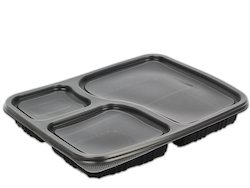 Plastic Meal Tray Black Disposable 3 Compartments