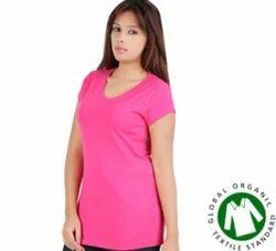 Women Pink V-Neck T - Shirt
