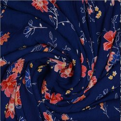 Pink Floral Printed Blue Cotton Crepe Fabric