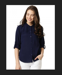 Female Rayon Navy Blue Shirt For Niktdon