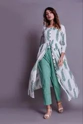 Green Cotton Straight Kurti with Pant