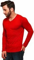 Red Cotton V Neck Full Sleeves