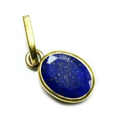 GEMSONCLICK Natural Iolite Pendant for Women Silver Oval Shape Faceted Cut Fashion Astrological Necklace