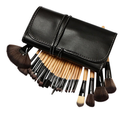 24 Piece Makeup Brush Set Leather Pouch With Logo Printing