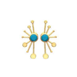 Gold Turquoise Gemstone Earring