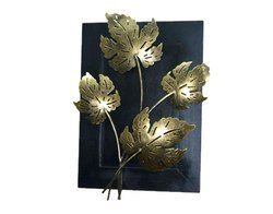Iron and Wooden Gold Finish Leaf Wall Panel Home Decor Wall Hanging