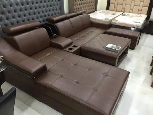 Brown L Shape Sofa With Cup Holder For