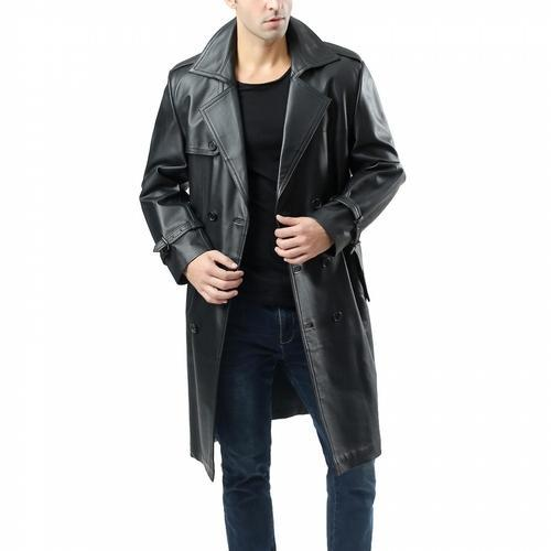 Handmade Men Genuine Lambskin Pure Leather Trench Coat, Rs 7000 /piece |  ID: 20319087233
