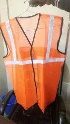 Orange And Silver Free Size Sleeveless Reflective Jacket