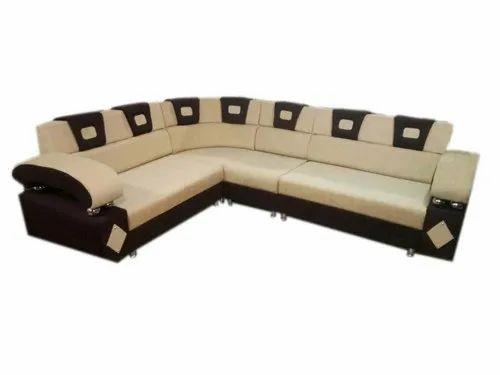 White Wooden L Shape Corner Sofa Set