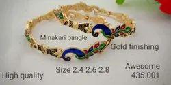 Gold Plated,Minakari Brass Mor Chhap Bangles