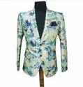 Cream And Sky Blue Indo Western Blue Waistcoat
