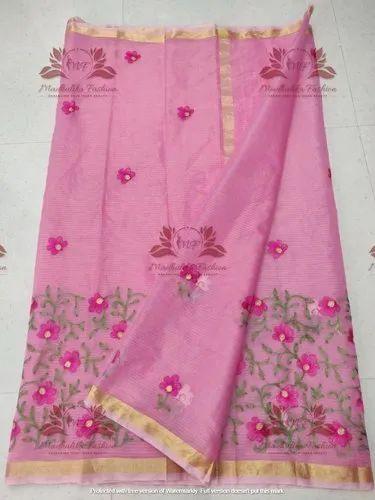 Designer Pink  Kota Doria Embroidery Saree