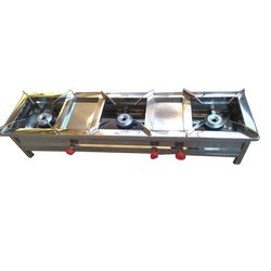 Aton SS Commercial Three Gas Burner, Burner Material: Brass, Number Of Knob: 3