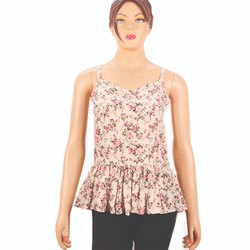 Casual Sleeveless Ladies Floral Tops