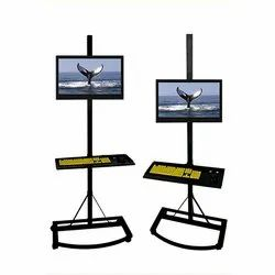 Pedestal with Keyboard Holder LCD Floor Mount Stand