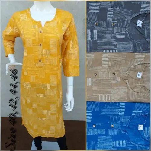 Stitched Cotton Printed Kurti