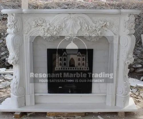 Antique Marble And Stone Fireplace