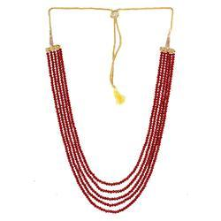 Ankur Graceful Five Layer Red Beads Necklace For Women