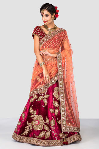 04720ff29a Red Velvet With Sequence Embroidery Work Bridal Lehenga Choli at Rs ...