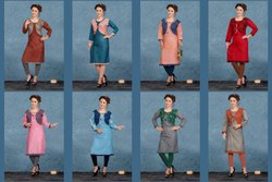 Knee Long Round Neck Anmazing Factory Straight Cut Daily Wear Khadi Cotton Kurti, Wash Care: Dry clean