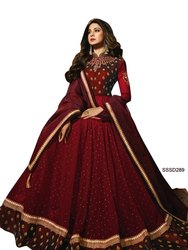 Silk Semi-Stitched Maroon Color Indian Stylish Anarkali Suit