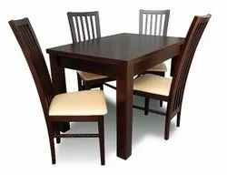 Aditya Furniture Dark Brown Wooden Dining Table Set, For Home