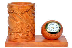 Wooden Pen Holder With Clock