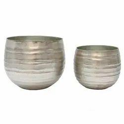 Silver Round Decorative Metal Planter