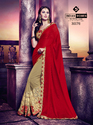 Indian Women Red And Beige Chinon And Georgette Saree