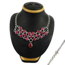 Ruby Gemstone Silver Necklace