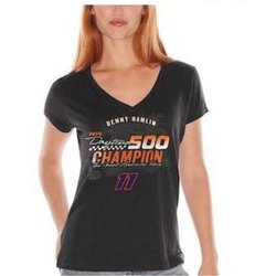 Black Half Sleeve Ladies Printed Cotton T Shirt, Size: M-XXL