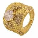 Party Wear Rhodium Plated Navratna Diamond Stone Ring